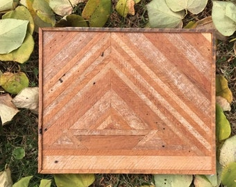 Reclaimed lath geometric wall art