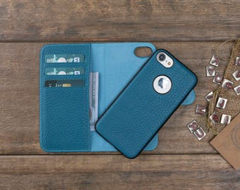 Detachable Leather Wallet Case for iPhone 8 / 8 Plus, Genuine Leather iPhone 8 Case, Personalize iPhone 8 Plus Card Holder Cover, Turquoise