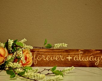 Forever & Always Sign | | Farmhouse Sign | Wedding Décor | Anniversary Gift | Wood Engraved Design | Wood Framed Sign