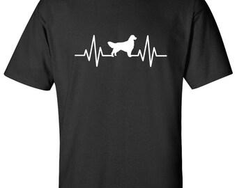 Heartbeat Golden Retriever Dog Logo Graphic TShirt