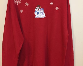 Vintage Ugly Snowmen Snowflakes Christmas Sweater Medium