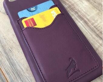 PERSONALIZED Iphone 6 plus Leather Case, iphone 6S Plus Leather Case, Credit Card Iphone Case, Iphone Wallet Case, Slim fit case, PURPLE