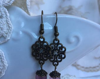 Victorian Style Drop Earrings with Translucent Acrylic Rose Beads and Antique Bronze Filigree Scrollwork Pendant & Findings.  French Hooks.