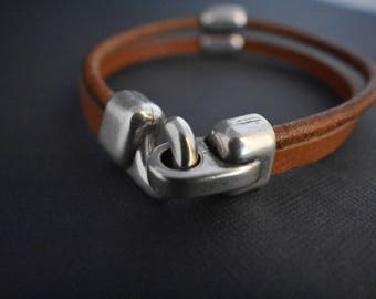 Men's cuff bracelet- Genuine leather and old silver