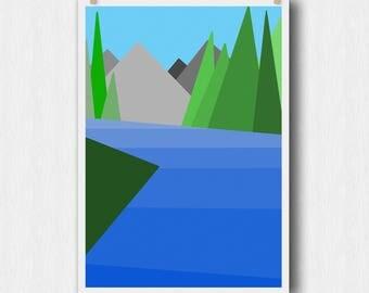 Mountain River Printable Wall Art - Minimalist Art