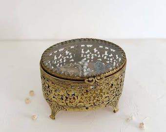 Antique French Round Ormolu Gold Beveled Glass Jewelry Box