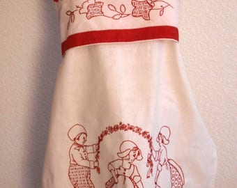 Apron Embroidered Holland Motif
