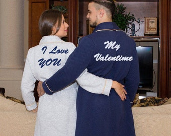Personalized Bath Robe - Valentine's Day - Groom and Bride Robes -  Couples Gifts - His and Hers Robes-  King or Queen Robe - Bath Robes