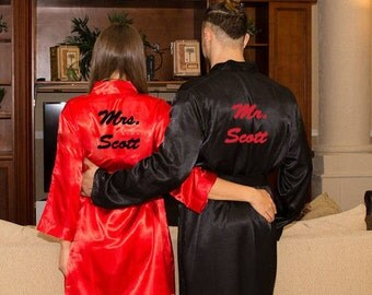 Mr and Mrs Robes, Queen and King Robes, Robes for Bride and Groom, Satin Robes, Robes for Couple, Valentines Day gifts, Groom Robe