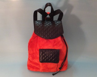 Backpack, Bag, Gift for Her, Red backpack, Red Bag, Sporty Gift, Red Ecological Fur Backpack, Red Ecological Fur Bag, Sporty-Chic Style