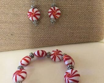 Fun Peppermint Holiday Earring and Bracelet Set