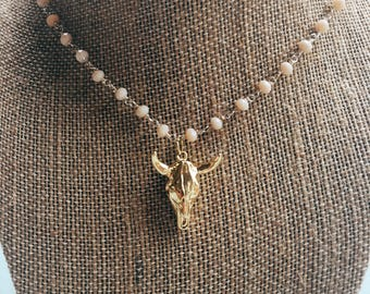 Gold Cow Charm Necklace