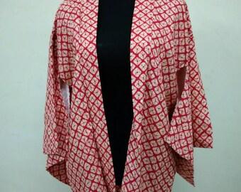 Japanese haori kimono red pink kimono jacket /kimono cardigan/kimono robe/#019