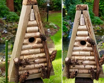 wine cork birdhouse: true a-frame