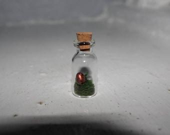 Miniature dragon's egg in glass bottle
