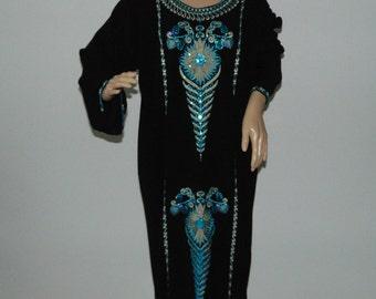 Vintage Embroidered Kaftan Kaftan Dress Hippie maxi dress Maxi black dress Embroidered dress Black Kaftan Tunic Dress Ethnic dress