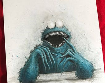 Demonic Cookie Monster -- Original pen and ink illustration