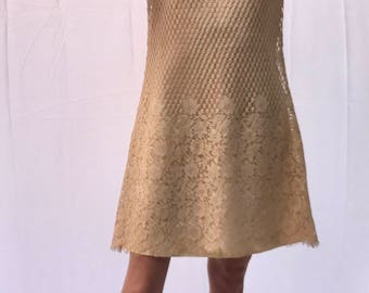 Vintage 1960s - EMMA DOMB - Cream Lace Overlay Dress - Size 9