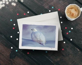 Ptarmigan Grouse A5 Illustrated Christmas Greetings Card - Winter Wildlife of Scotland