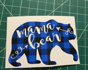 Blue Plaid Mama bear decal