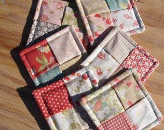 Fabric coaster set, mug rugs, floral print coasters