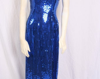 vintage MIKE BENET Sequined Bue Evening Gown,  Prom dress, Formal, Pageant