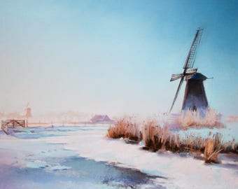 ORIGINAL pastel painting  Holland in Winter