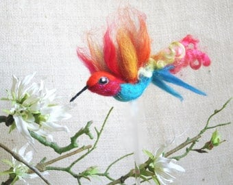 Brightly colored hummingbird, needle felted