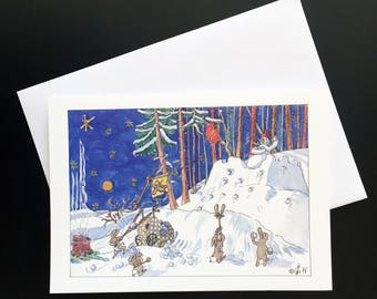 "Snowball fight-Christmas card ""snowmen, hares and carrot noses"""