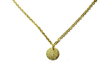 Gold dust coin necklace