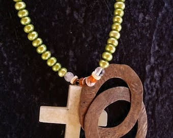 Green and Peach Freshwater Pearl Necklace with Yellow Stone Cross Pendant and Brass Circles