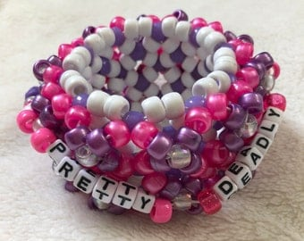 Pretty Deadly Pink and Purple 3D Kandi Cuff EDM Rave Wear