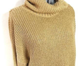 Oversized Metallic Gold Tunic Sweater Cowl Neck Plus Size