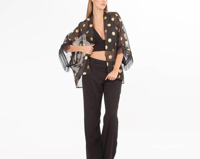 Polka Dot Cardigan - Black Cardigan - Black Kimono - Women's Cardigan - Cardigan for a Woman - Gold - Cardigan - Kimono - Clothing - Boho