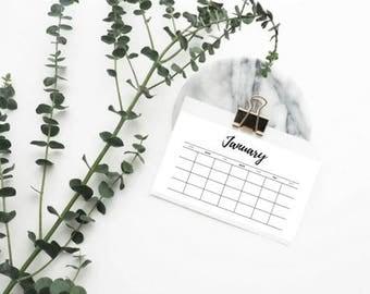 2018 Printable Calendar, Printable Monthly Planner, planner 2018 digital, planner printable, calendar, calendar printable, print, download