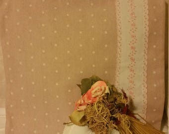 Cushion cover, pink polka dots and lace embroidered