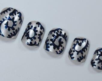 10 Abstract Nails, Press On Nails, Glue on Nails, Full Coverage Nails