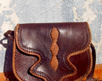 Two Tone Brown Leather Handmade Moroccan Leather Messenger Bag