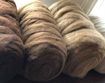 Premium Grade 2 Natural Colors Paco-Vicuna Roving- Sold by the Ounce- for Spinning, Knitting, Crochet, Weaving, Textiles, Fiber Arts