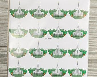 "40 Twin Falls Idaho Temple 1"" round stickers"