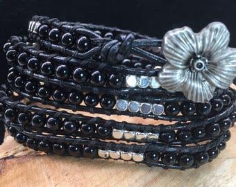Wrap bracelet 5 laps black