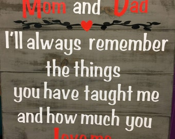 "Mom and dad 22x22"" wooden plank sign"