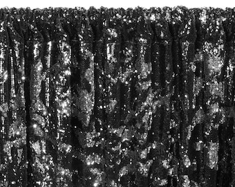 12 FT. Black Silver Sequin Backdrop Photo Booth Back Drop Sparkly Background Prop Wedding Event Birthday Anniversary Mermaid Flip Reversible
