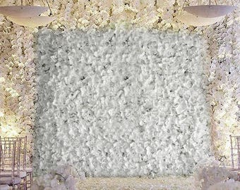 4 White Flower Wall Hydrangeas Artificial Flower Wall Panels Wedding Decorations Fake Flower Greenery Flower Square White Sale Wholesale