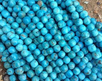 """Kingman Turquoise 8 mm Semi-Round/bead strand/ 16"""" long/ Arizona turquoise/ southwestern style/blue turquoise/beading supply/ TS8SR"""
