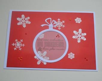 Greeting card - Ball of Christmas and snowflakes