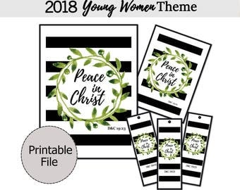 2018 LDS Youth Theme, Peace in Christ printable, Peace in Christ poster, D&C 19:23, Young Women, Bookmarks