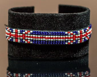 British Flag Bracelet | Maasai beaded bracelets | Flag of Great Britain | British flag wrist band.
