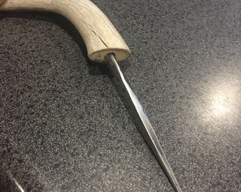 Forged Leather Awl with Antler Handle