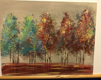 Painting Abstract Tranquil Trees